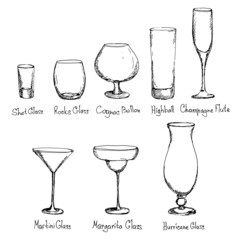 Hand drawn different kinds of glasses. Vector illustration.