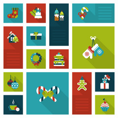 Christmas New Year icon set flat style