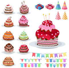 Set with different cakes