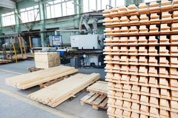 wood lumber materials at plant