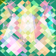 Abstract background with green polygons pink. Raster.