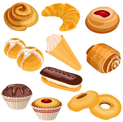 Set of pastry isolated on white