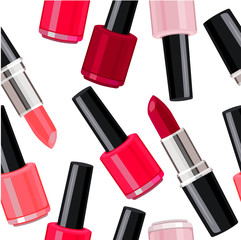 Seamless pattern - lipsticks and nail varnishes.