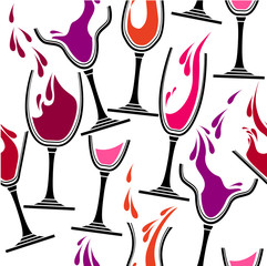 Seamless pattern with glasses of wine.