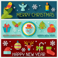 Merry Christmas and Happy New Year horizontal banners.