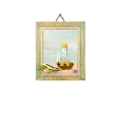Virgin olive oil, picture hanging isolated