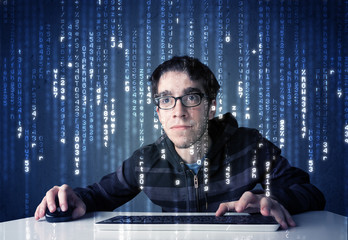 Hacker decoding information from futuristic network technology
