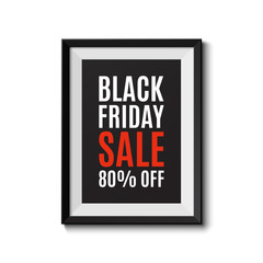 Picture frame isolated on white background. Black friday sale