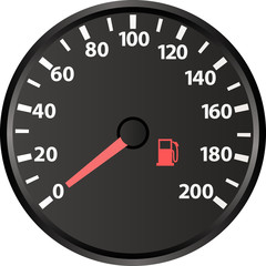 speedometer with the low fuel indicator