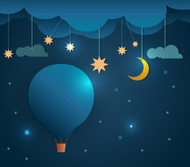 Abstract paper-Hot air balloon and moon with stars