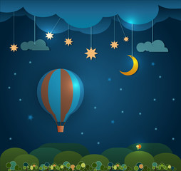 Abstract paper.Hot air balloon and moon with stars  cut