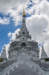 White pagoda  in Wat Phra That Hariphunchai temple , Thailand