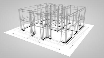 Bau Gerüst auf Plan