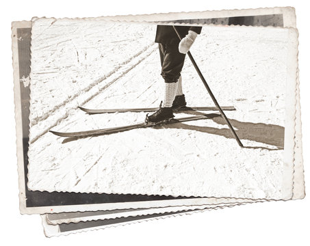 Black and white photos, Vintage photos Old skis and boots