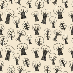 Hand drawn trees seamless background