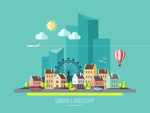 Flat design city landscape.