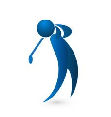 Golf player blue figure logo image vector icon