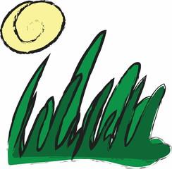 doodle grass and sun