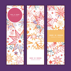 Vector textured christmas stars vertical banners set pattern