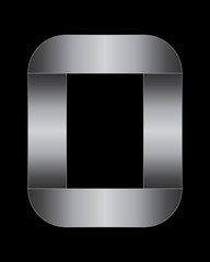 rectangular bent metal font, number 0