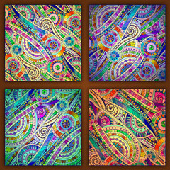 Set of tribal doddle ethnic pattern.
