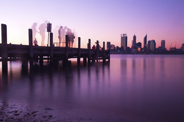 Perth city skyline and pier at night