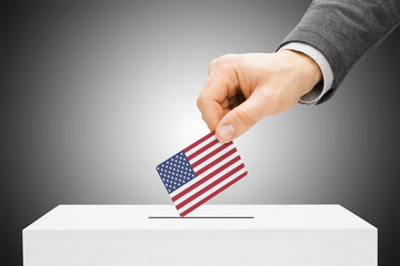 Male inserting flag into ballot box - United States