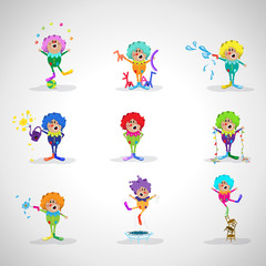 Clowns - Isolated On Gray Background - Vector Illustration