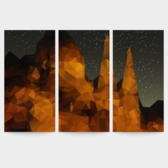 Set of beautiful night landscape backgrounds, triangle design