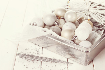 Retro style image of Christmas ornaments