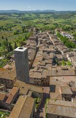 Fototapete - Aerial view of San Gimignano, Tuscany, Italy