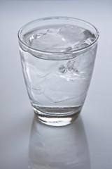 グラスに入った氷と水