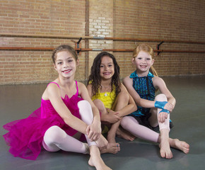 Cute young dancers at a dance studio