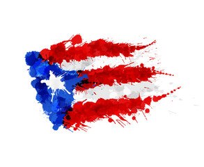 Flag of  Puerto Rico made of colorful splashes