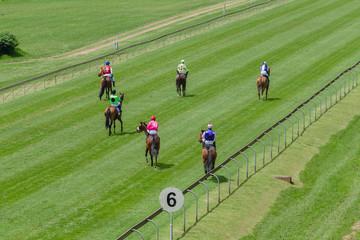 Horse Racing Jockeys Track Walking Start