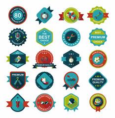 Sport badge flat banner design background set, eps10
