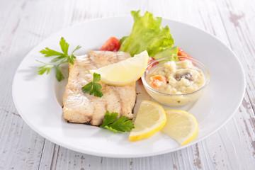 fish, salad and sauce