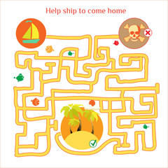Rebus vector. Funny labyrinth with ship and pirates. Cartoon