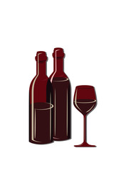 two wine bottles and glass of wine. Vector illustration