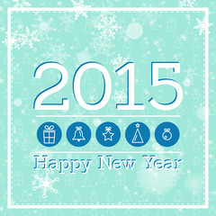 blue new year card 2015 with icons