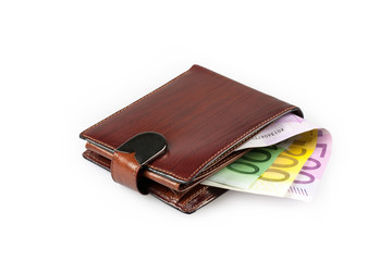 Wallet with euro banknotes on white background