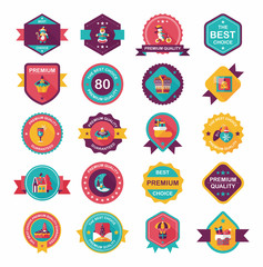 Christmas badge banner design flat background set, eps10
