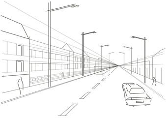 Line sketch of street
