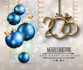 2015 New Year and Happy Christmas background for your flyers
