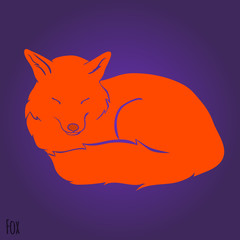 Red sleeping fox silhouette