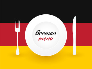 sign Germany menu with dishes and cutlery
