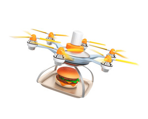 Drone carrying hamburger for fast food delivery concept