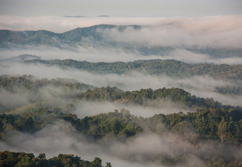 Mountains and mist in Thailand.