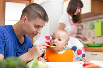 father feeding his baby and mother cooking at kitchen