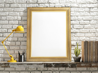 Mock up Golden Frame on Wooden table, brick wall